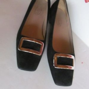 Classic Comfy Loafer Shoes 80s Black Leather sz 9